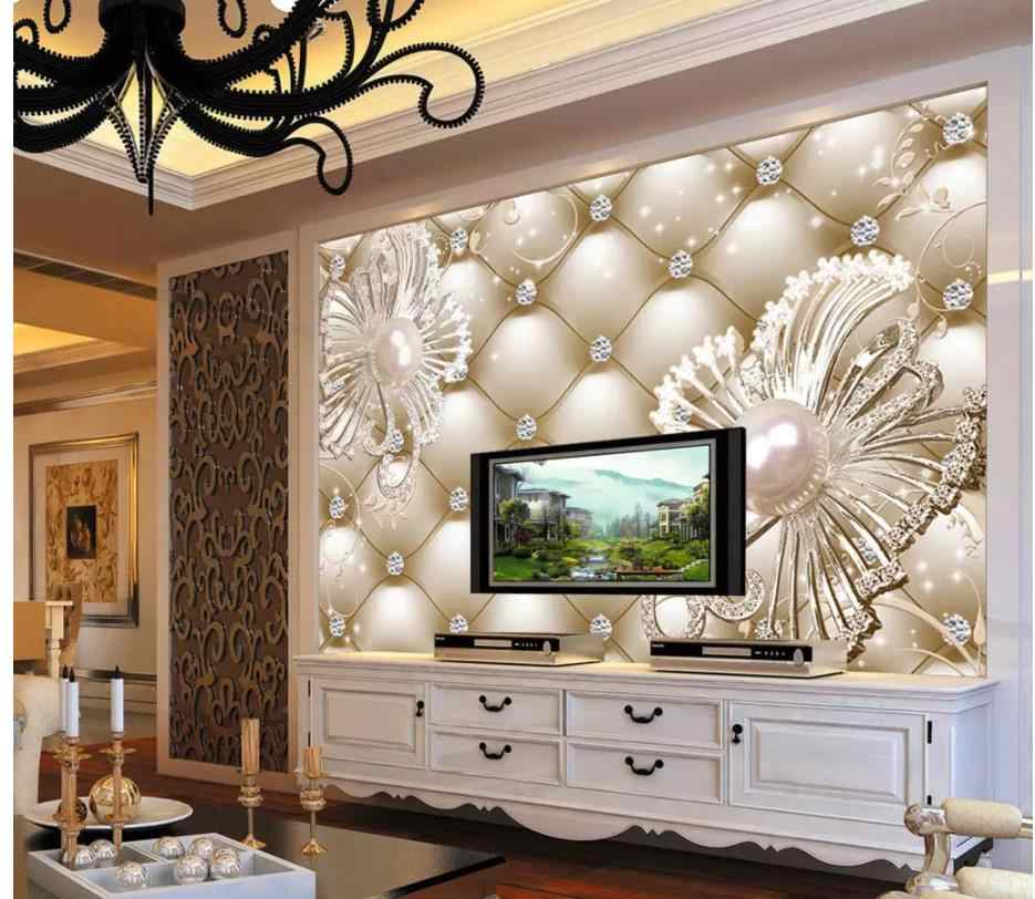 3D Wallpaper Custom Photo Wallpaper Diamond, jewellery, flower luxury Art Mural for Living Room Large Painting Home Decor