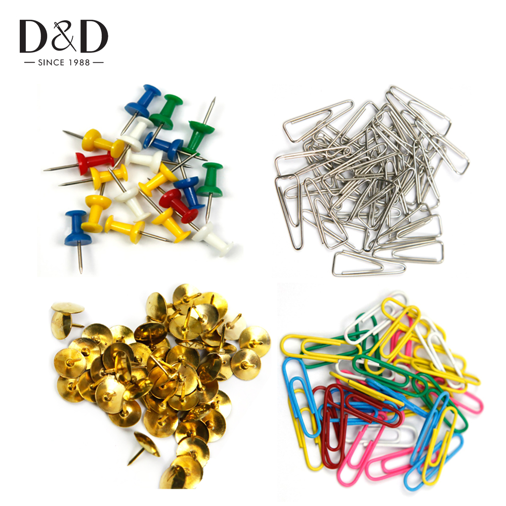 High Quality Mix Color Paper Clips Metal Clip Safety Colored Push Pins Set Office Accessories