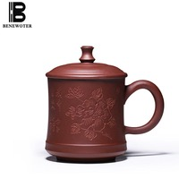 340cc Yixing Natural Raw Ore Purple Clay Mug Peony Pattern Office Master Tieguanyin Pu Er Tea Cup with Lid Kit Vintage Drinkware