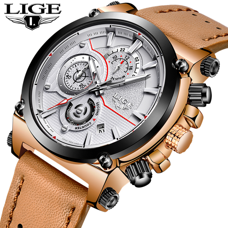 Relogio Masculino LIGE Mens Watches Top Brand Luxury Chronograph Quartz Watch Men Fashion Sport Watch Leather Waterproof Clock reef tiger brand men s luxury swiss sport watches silicone quartz super grand chronograph super bright watch relogio masculino