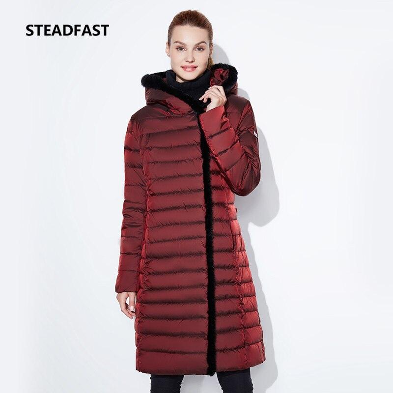 Стойкий зимние модели Для женщин хлопковая парка тёплая и ветрозащитный длинный тонкий с меховым воротником Hat пуховик большой размер