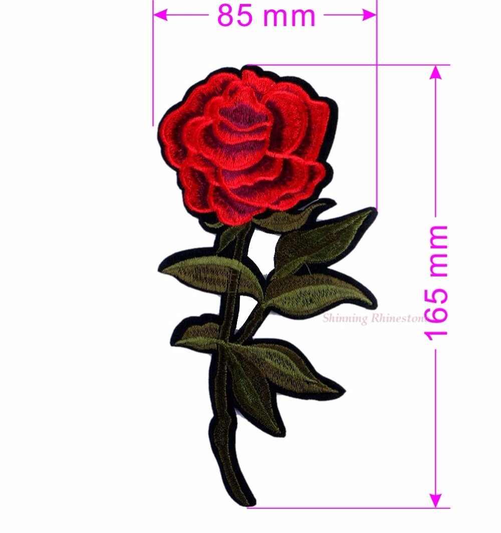1pc parches de hierro en coser flor rosa roja bordado motivo apliques mujeres DIY ropa pegatina boda parche vestido de verano