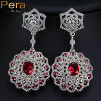 Pera Noble India Women Party Jewelry Big Red Cubic Zirconia Stone Micro Paved Long Round Dangling Earrings For Wedding E147