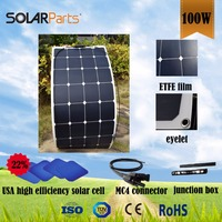 100W Semi Flexible ETFE Solar Panels For RV Boat Golf Cart Marine Yachts Home Use
