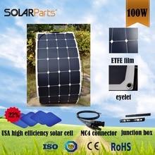 Boguang 100W semi flexible transparency ETFE solar panels mono solar module for RV Boat Golf cart