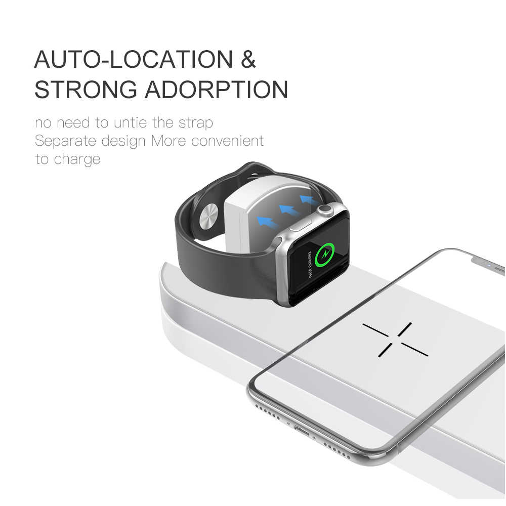 10W Qi bezprzewodowa ładowarka samochodowa do iPhone X XS MAX XR 8, szybka, bezprzewodowa przy pełnym obciążeniu ładowania 3 W 1 pad dla Airpods Apple Watch 4 3 2 1