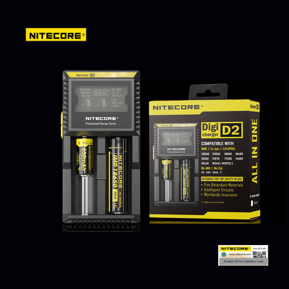 Original Nitecore D2 Battery Charger LCD Smart Charging for 18650 14500 16340 26650 Batteries 12V Charger for A AA AAA Batteries