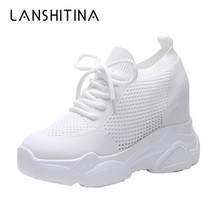 Fashion 2019 Autumn High Platform Heels Women Thick Sole Shoes 10CM Wedge Sneakers Breathable Mesh Casual Woman