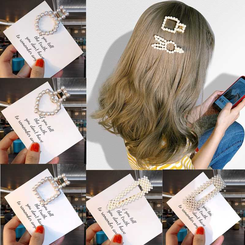 New 15 styles women Silver color Metal pearl hairpins lady Simple hair clips Barrettes hair accessories Girl Birthday Gift