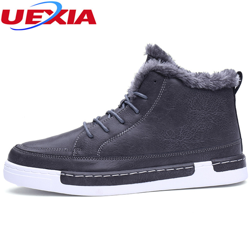 UEXIA Casual Fashion Men Boots Winter With Fur Warm Ankle Snow Boots Men Shoes Footwear Fashion Male Rubber Winter Footwear Top chilenxas autumn warm winter leather footwear shoes men casual new fashion ankle boots breathable light hard wearing anti odor