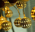 Fashion Silver Metal Round Ball Shape LED String Lights Christmas Party Decorative Lighting Indoor Bedroom Fairy Lights