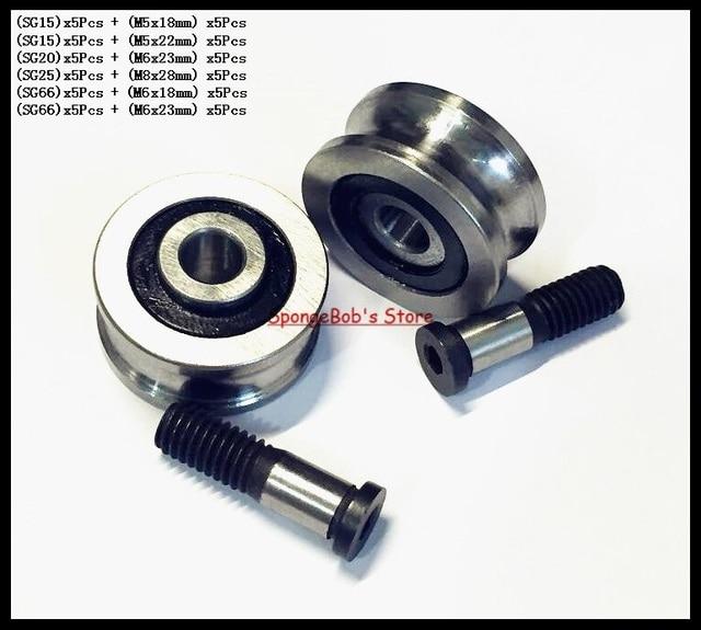 5set/Lot  SG15 SG20 SG25 SG66 + M5 M6 M8 Screw Bolts Bearing Steel Pulley Ball Bearings Track Guide Roller Bearing