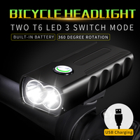 Working 6H LED Bike Front Bicycle Light Built in 18650 Battery USB Rechargeable Accessories Metal Front Cycling Flashlight lamp