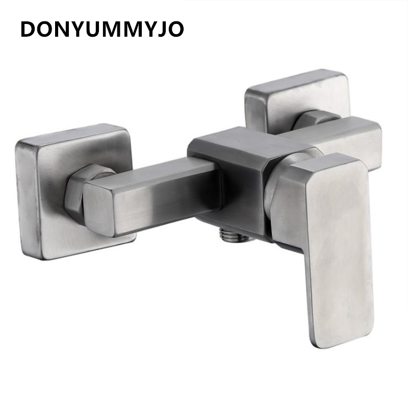 DONYUMMYJO 1pc 304 Stainless Steel Square Shower Faucet Hot And Ccold Water Faucet Mixing Valve Concealed Shower Tap steam sauna shower room stainless steel shower screen wear plate concealed installation stalls mixing valve
