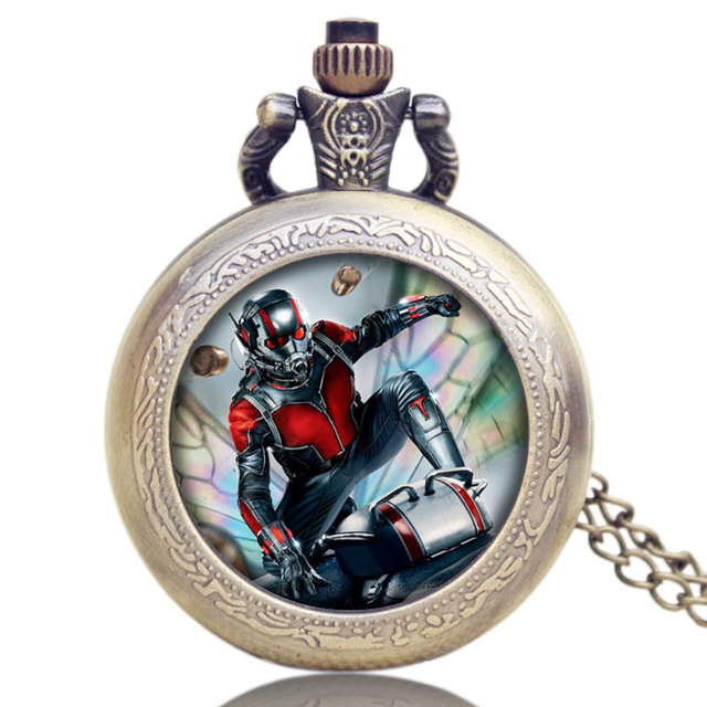 Ant-Man Movies Theme Pocket Watch Bronze Fob Watch With Chain Necklace Relogio D