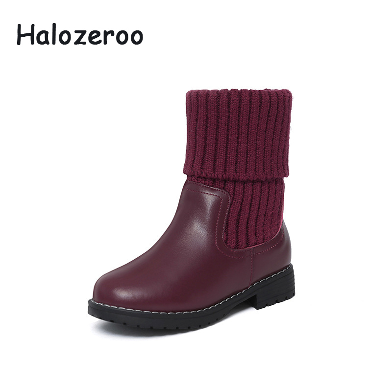 New Cow Split Baby Girls Genuine Leather Boots Children Warm Shoes Kids Brand Black Shoes Boys Winter Fashion Mid Calf Boots