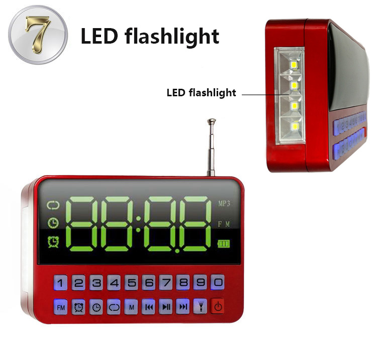 KK60 s velikim LED zaslonom TF Mikro SD USB zvučnik MP3 player FM radio sat Sat alarma LED svjetiljka
