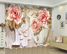 Customized Blackout fabric Floral 3D Print Window Curtains Drapes For Living room Bed room Office Hotel