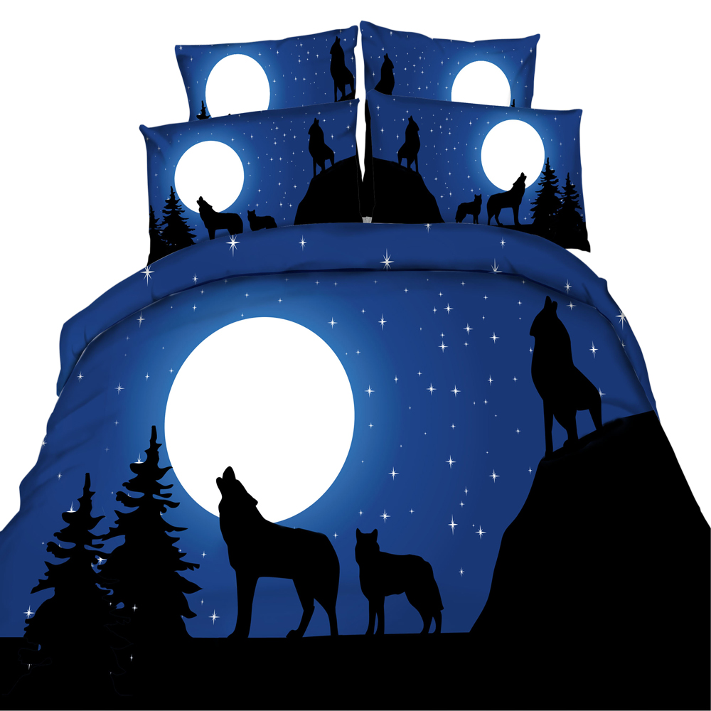 yeeKin 100%Cotton Design Night Wolf Bedding Sets 3/4pcs HD Digital 3D Printing Quilt/Duvet Cover Set King/Super King/Twin/Queen yeeKin 100%Cotton Design Night Wolf Bedding Sets 3/4pcs HD Digital 3D Printing Quilt/Duvet Cover Set King/Super King/Twin/Queen