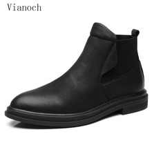 New Fashion Autumn Ankle Boots Men Party Bussiness Dress Shoes Slip On Oxfords Shoes Pointed Toe Man Spring Black men0053 silver metal pointed toe men loafers england style shinny slip on boat shoes oxfords spring autumn men dress shoes oxfords