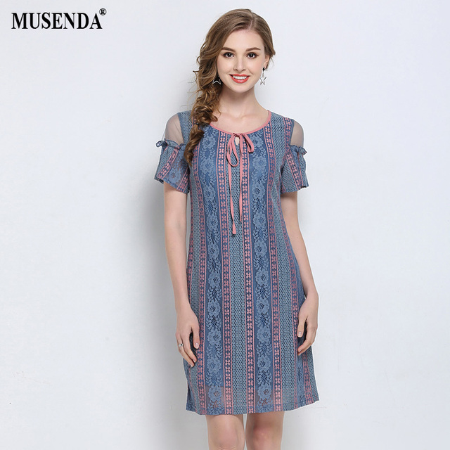 3b4d28765fe MUSENDA Plus Size Women Blue Lace Mesh Patchwork Short Butterfly Sleeve  Dress 2018 Summer Sundress Party Ladies Dresses Vestido