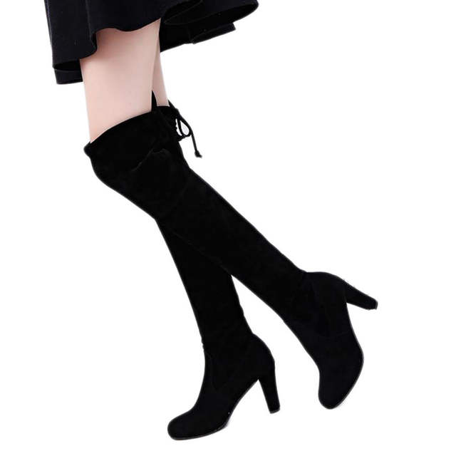 79a1c2f4881 Online Shop Autumn Winter Women Suede Sexy Fashion Over the Knee Boots Sexy  Lady Thin High Heel Boots Platform Woman Shoes Black Gray