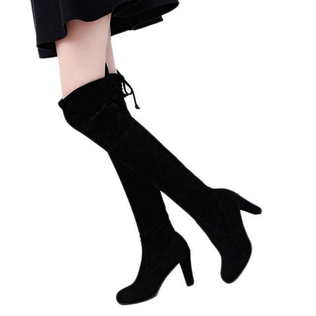 Herfst Winter Vrouwen Suede Sexy Fashion Over de Knie Laarzen Sexy Lady Dunne Hoge Hak Laarzen Platform Vrouw Schoenen Zwart grijs