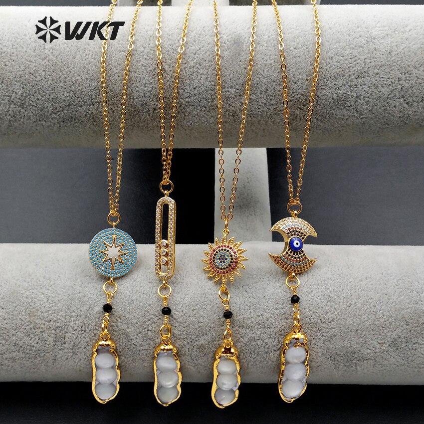 WT-MN929 WKT Wholesale Custom Sundry Cubic Zirconia Link Pea Pearls Pendant Neckalce 5 Pcs/lot For Fashion Jewelry Marking