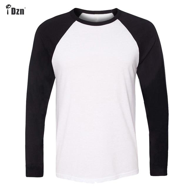 IDzn брендовая одежда новая мода Повседневное Для мужчин футболки цвет: черный, синий мальчика реглан футболка с круглым вырезом и длинными рукавами Топы плюс Размеры S-3XL