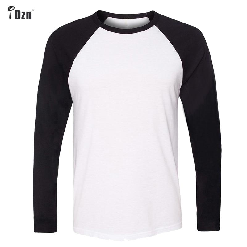 IDzn marke clothing neue mode lässig männer t-shirts schwarz blau jungen Raglan Langarm oansatz T-shirt Tops Plus Größe S-3XL