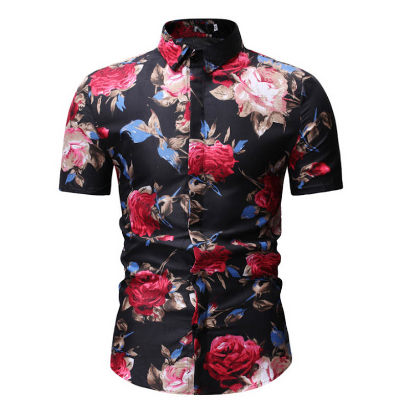 M-3XL New Summer Fashion Mens Shirt Slim Fit Short Sleeve Floral Shirt Mens Clothing Trend Plus Size Mens Casual Flower Shirts