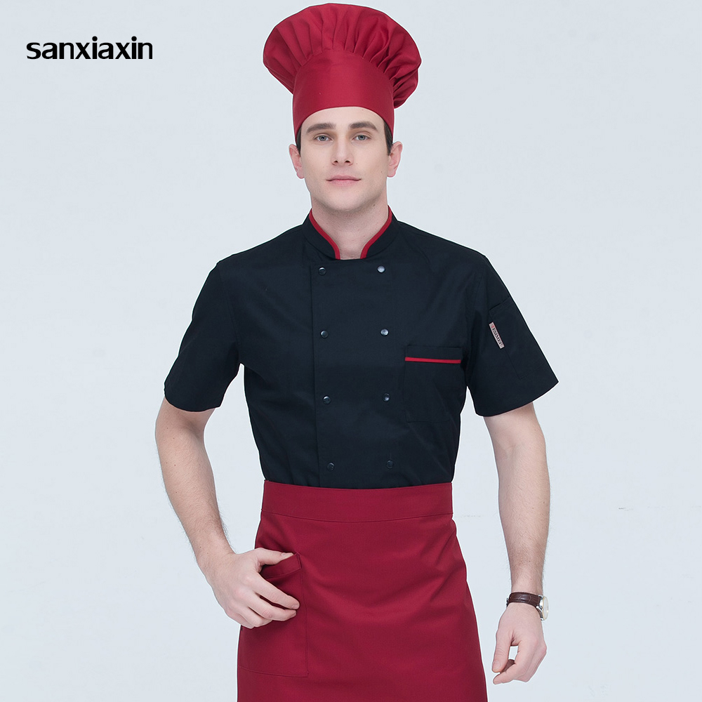 Food Service Chef Uniform Cooker Work Clothes Double-breasted Hotel Catering Kitchen Men Chef Jacket Restaurant Uniform 3 Colors