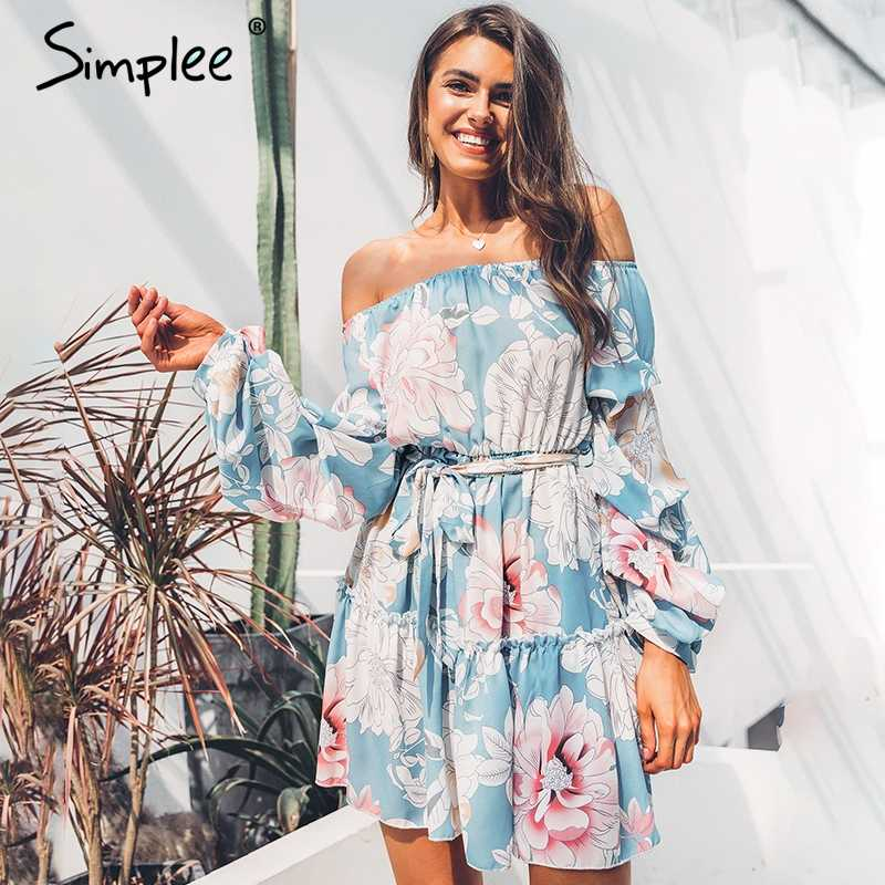 Simplee Elegant slash neck Floral print women dress Casual lantern sleeve sashes summer dress Bohemian ruffled ladies dresses
