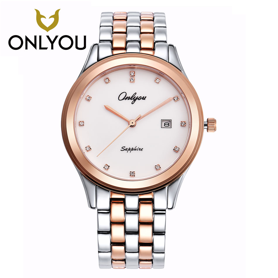 ONLYOU lovers ultra thin Simple watch women Dess Clock Casual Women Watch Quartz Men Sports WristWatch Rose gold/black watches