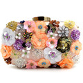 2017 Women's Clutch Purse Handmade Flower Sequins Beaded Bag New flower embroidery bridal Pouch Ladies Smart Shoulder Chain Bags