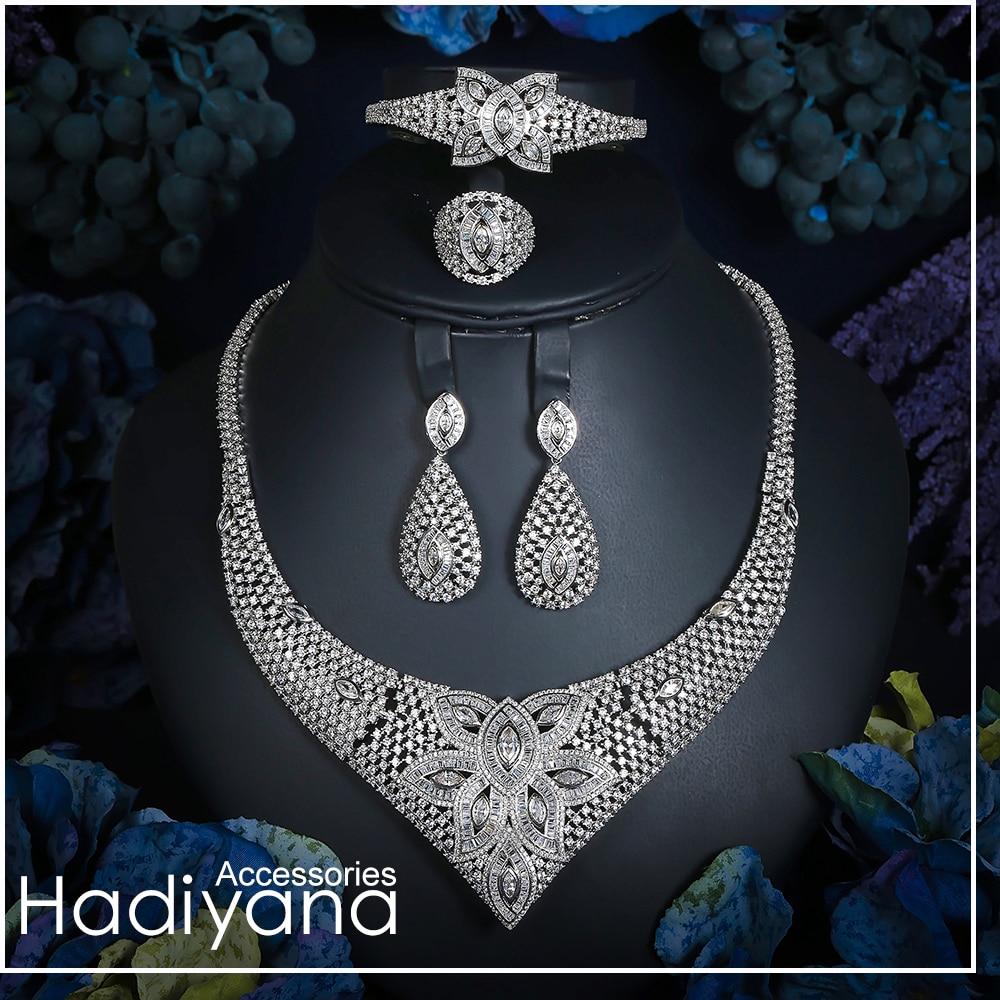 Hadiyana nouveauté femmes goutte d'eau ensemble de bijoux brillant clair Zincons pavé élégant Costume bijoux 4 pc ensemble livraison directe CN755