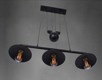 3 lights Black color Loft vintage pulley pendant lamp dinning room study room light AC110V 220V E26/27 3*40W FREE SHIPPING