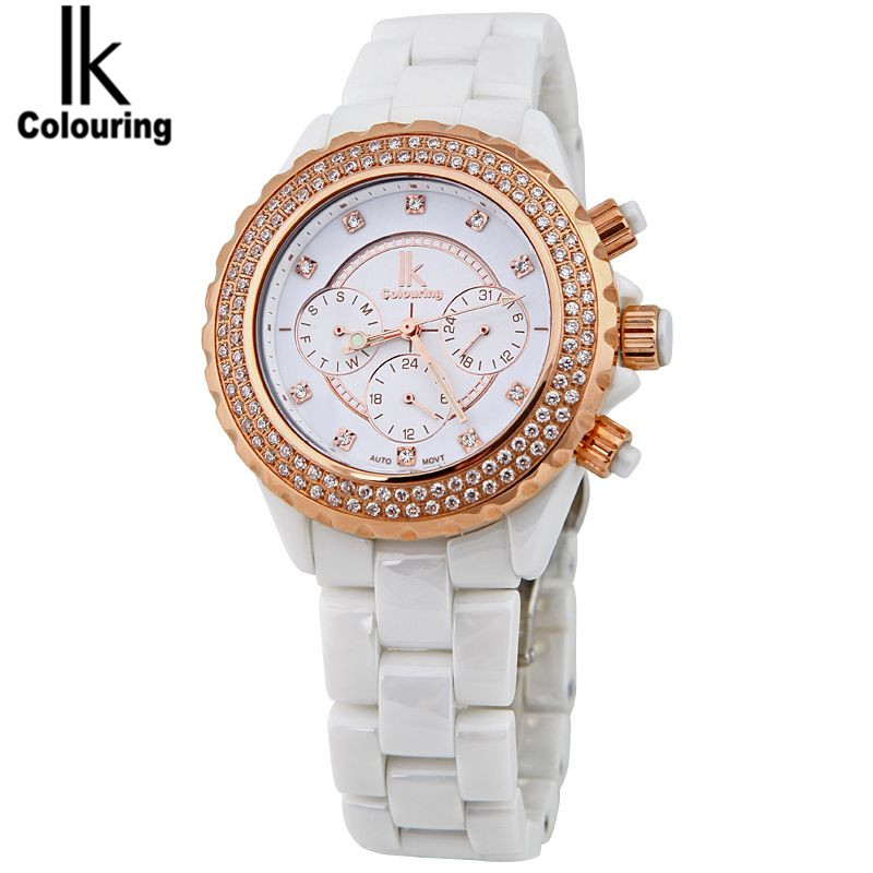 IK Coloring Luxury Men Women Sapphire Crystal Ceramic Week/Date Auto Mechanical Watches Wristwatch Original Box Free Ship coloring of trees