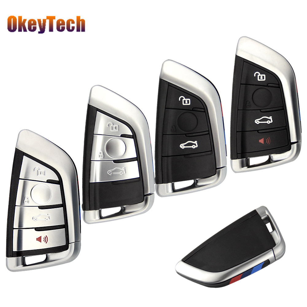 OkeyTech 3/4 Buttons Smart Card Car Key Shell Case For BMW 1 2 7 Series X1 X5 X6 X5M X6M Auto Remote Key Cover Fob Insert Blade