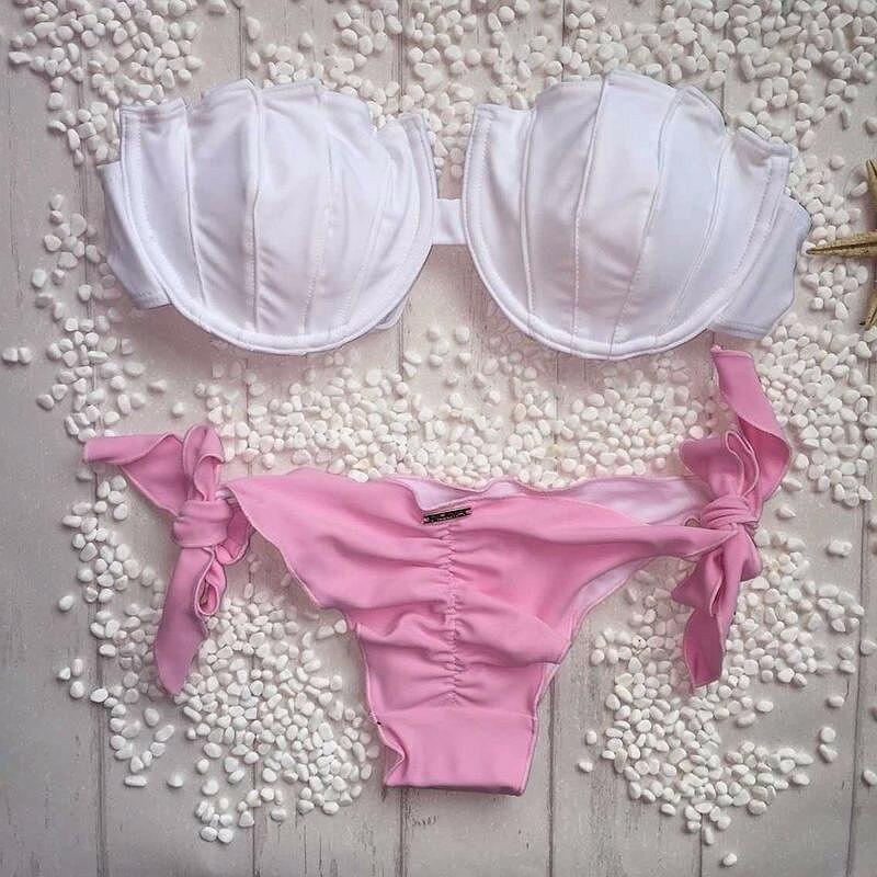 Shell Shape Thong Bikini 2018 Push Up Biquini Solid Swimwear Women Swimsuit Bandage Bikinis Women 2018 Bathing Suit Women 118