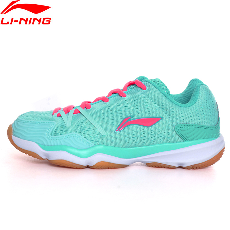 Li Ning Women Badminton Shoes Textile Upper Breathable Sneakers Hard Wearing LiNing Sports Shoes AYTM062