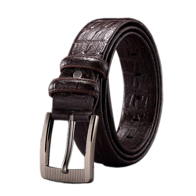 [HIMUNU] Homens Pin Fivela de Cinto de luxo Jacaré Grain 100% Cintos de couro Genuíno Para Homens Cintos de Grife Homens de Alta Qualidade Do Vintage