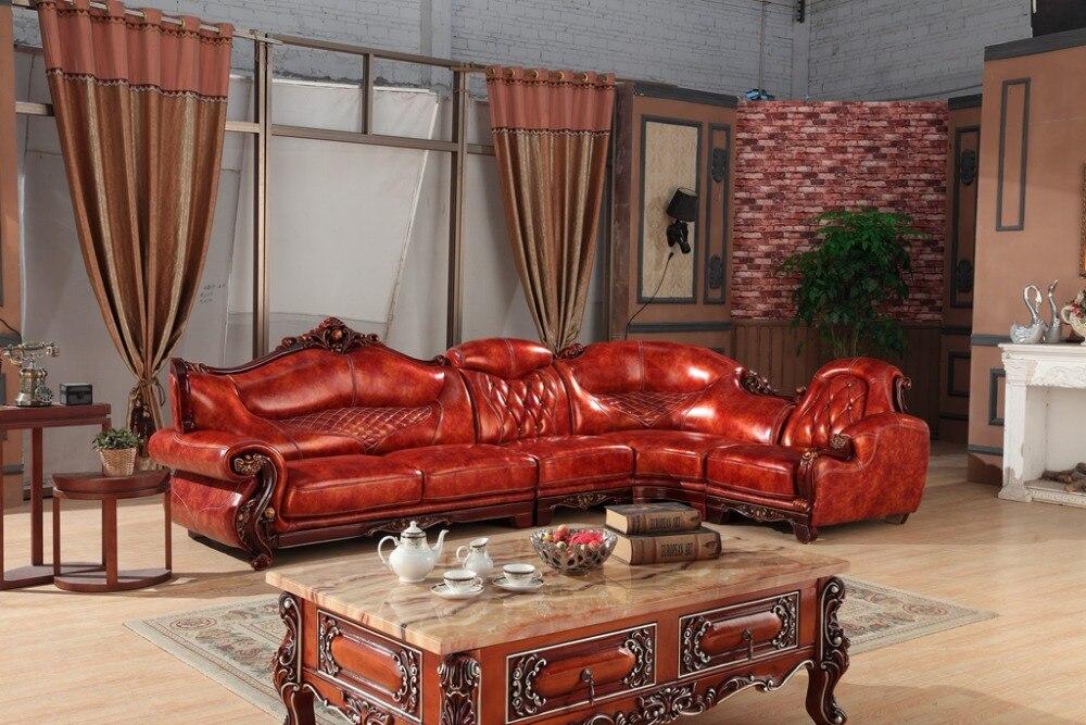 European leather sofa set living room furniture China wooden frame L shape corner sofa