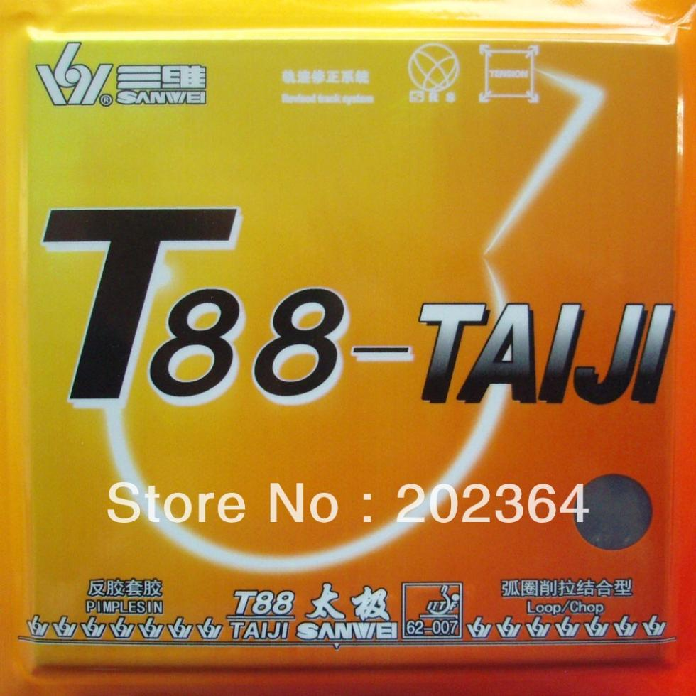 2Pieces Sanwei T88-TAIJI TAIJI Loop Chop Pimples in Table Tennis Ping Pong Rubber With Sponge 2pcs lot reactor corbor professional training pimples in table tennis rubber with sponge