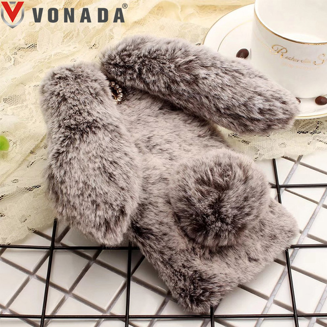 Vonada Plush Case for Wiko Lenny 2 Tommy Robby Harry Cute Rabbit Ears Fur Cover TPU Jewelled Soft Case Cover
