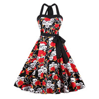 Sisjuly Vintage 1950s 60s Floral Print Black Halter Dresses 2017 New Summer Female Backless Strapless Party