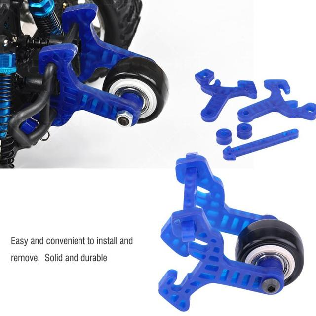 1 set van Plastic + Metalen High Speed Wheelie Bar Anti-roll Wiel voor HSP 94108 94111 94188 110 schaal RC monster Auto Accessoire