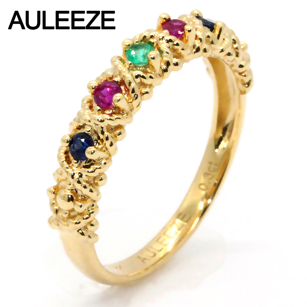 Vintage 18K Solid Yellow Gold Ring Real Multi Gemstones Wedding Bands Natural Ruby Sapphire Emerald Rings