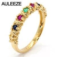 Vintage 18 K Yellow Gold Stałe Pierścień Prawdziwe Multi Zespoły Weselne Kamienie Naturalne Ruby Sapphire Emerald Pierścieni Dla Kobiet Biżuteria
