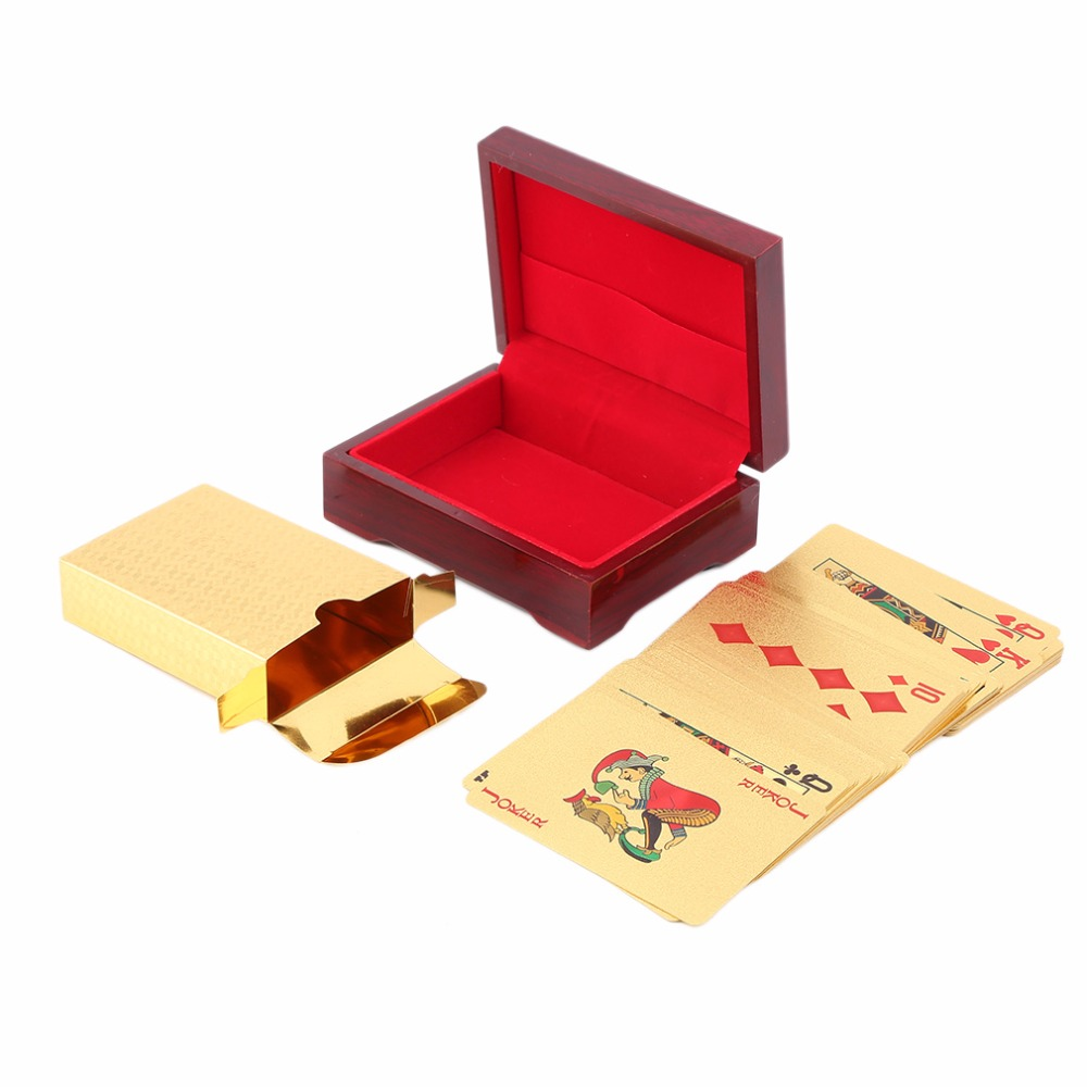 1set Poker Portable Dollar, Euro, Mosaic Pattern Playing Cards 24k Gold Plated Full Poker Deck Pure + Wooden Box Christmas Gift